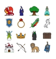 Fairy Tale Thin Line Icons vector image