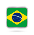 flag of brazil shiny metallic gray square button vector image vector image