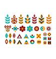 folk decorative plant geometric set vector image vector image