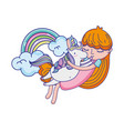 girl hugging unicorn with rainbow and clouds vector image vector image