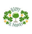glass of green beer as a symbol of st patricks day vector image vector image