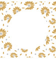 golden hand drawn round frame with blossom design vector image