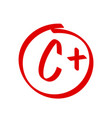 grade c plus result icon school red mark vector image vector image