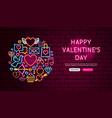 happy valentine day neon banner design vector image vector image