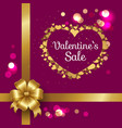happy valentines day inscription in golden frame vector image