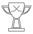 Hockey cup icon outline style vector image