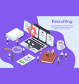 human resources isometric composition vector image vector image