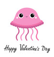 jellyfish toy icon happy valentines day big eyes vector image