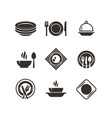 kitchen plates and cutlery black silhouette icons vector image
