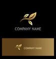 leaf gold organic logo vector image vector image
