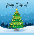 merry christmas card template with christmas tree vector image vector image