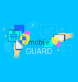 mobile guard app on smartphone concept vector image vector image