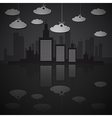 Night City Scape with Paper Clouds vector image vector image