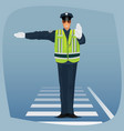 officer of traffic police standing at crossroads vector image vector image