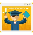 Online education Graduate in gown and hat into vector image