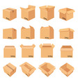 open and closed cardboard box delivery package in vector image