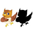 owl with its silhouette vector image vector image