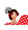 portrait flamenco woman beautiful spanish girl vector image vector image