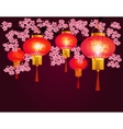 Red Chinese lanterns hanging in the park Sakura vector image vector image