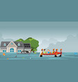 rescue team helping people by pushing a boat vector image