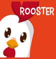 rooster cute animal cartoon vector image