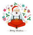 santa claus yogi sitting in yoga posture vector image vector image