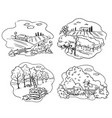 set farming icons apple cattle farm and vector image