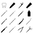 set of black dental icons vector image vector image