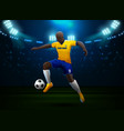 soccer player with field stadium background vector image vector image