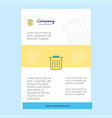 template layout for trash comany profile annual vector image vector image