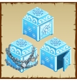 three blue chest ice open and closed vector image vector image