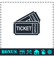 ticket icon flat vector image vector image