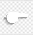whistle sign white icon with soft shadow vector image vector image