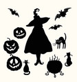witch pumpkin lantern cat cauldron and bat vector image