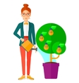 Woman watering tree with light bulbs vector image vector image