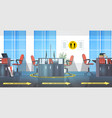 workplace desks with round yellow signs for social vector image vector image