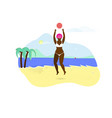 young african girl playing with ball on beach vector image