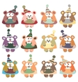 bears in winter hats colored on the white vector image