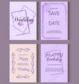 wedding invitation card suite with crocus flower vector image