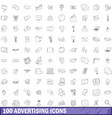 100 advertising icons set outline style vector image vector image