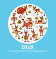 2018 poster of cartoon deer or reindeer vector image vector image