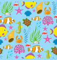 aquatic funny sea animals underwater creatures vector image vector image