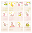 Baby Bunny Calendar 2015 - week starts with Sunday vector image
