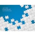 blue background made from white puzzle pieces vector image vector image
