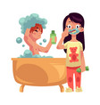 boy taking bath washing hair girl in pajamas vector image vector image