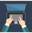 Businessman hand on laptop keyboard with blank vector image vector image