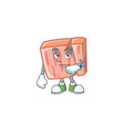 cartoon meat in character mascot waiting vector image vector image
