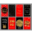 Christmas and New Year handdrawn cards collection vector image vector image