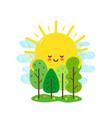 cute happy smiling sun hugs vector image vector image