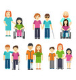 disabled people with helping vector image vector image
